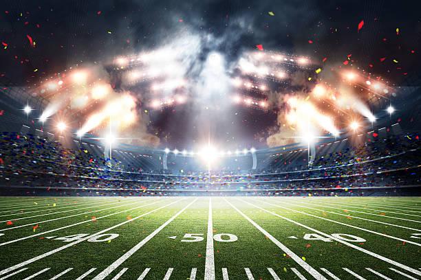 american soccer stadium, 3d rendering - fútbol americano fotografías e imágenes de stock