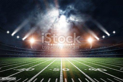 istock American Soccer Stadium, 3d rendering 627034124
