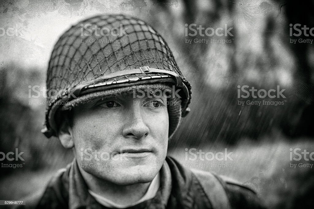 WWII - American Soldier - Aged Photo - Portrait stock photo