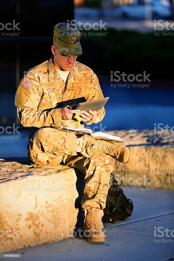 American Soldier at campus stock photo