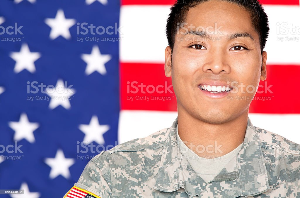 American Soldier in Army Camouflage Uniform royalty-free stock photo