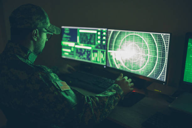 American soldier in headquarter control center stock photo