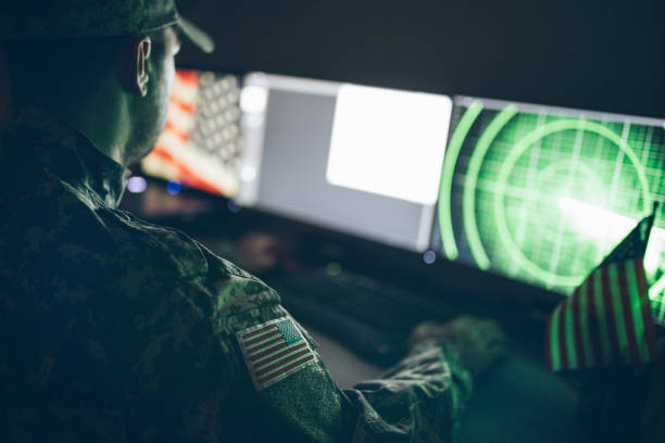 American soldier in headquarter control center American soldier in headquarter control center military attack stock pictures, royalty-free photos & images