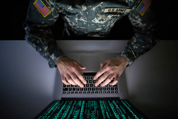 American soldier in military uniform preventing cyber attack in military intelligence center. An US officer intercepting messages to stop terrorism. Modern warfare system surveillance concept. American soldier in military uniform preventing cyber attack in military intelligence center. An US officer intercepting messages to stop terrorism. Modern warfare system surveillance concept. defend stock pictures, royalty-free photos & images