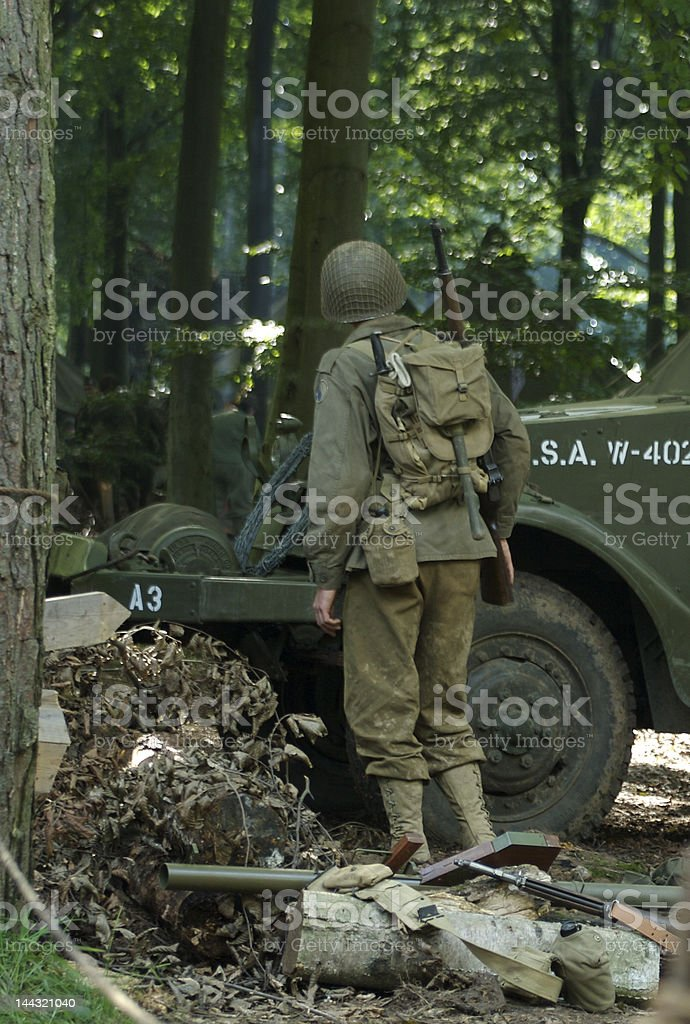 american soldier in the forest royalty-free stock photo