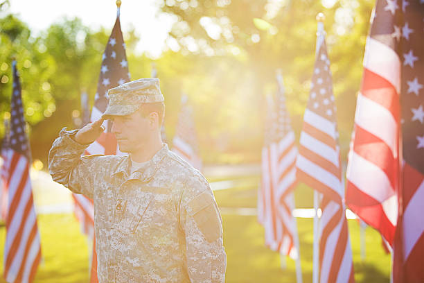 american soldier - saluting stock photos and pictures