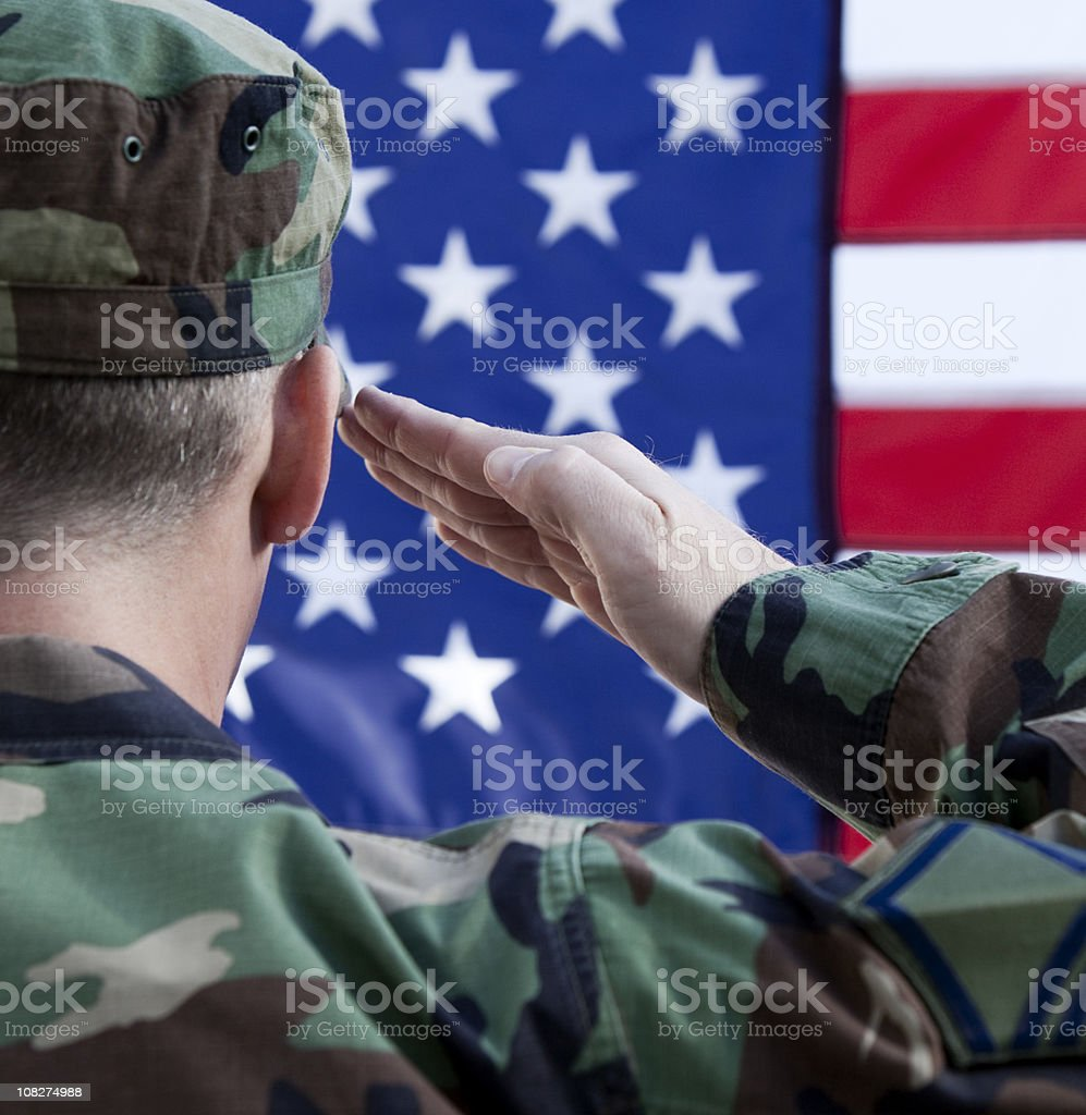 American Soldier Saluting Flag royalty-free stock photo
