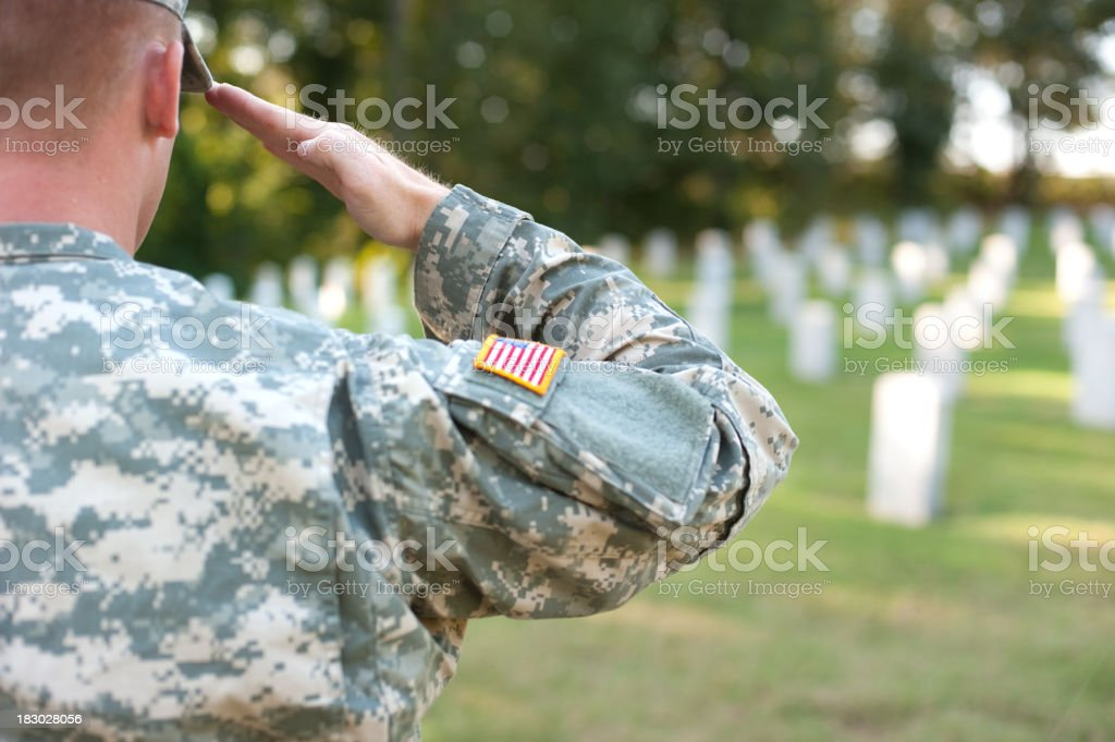 American Soldier Saluting Lost Friends royalty-free stock photo