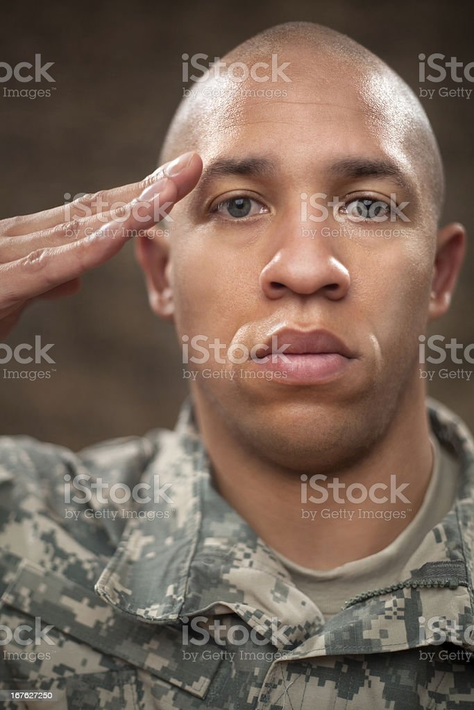 American Soldier Saluting royalty-free stock photo