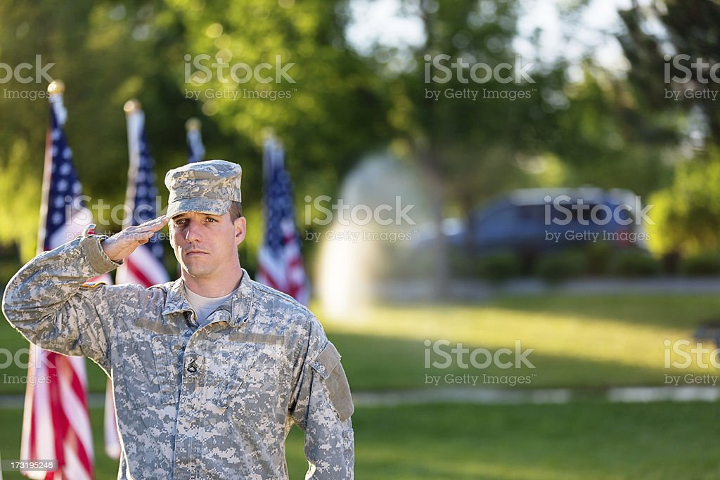 American Soldier saluting stock photo