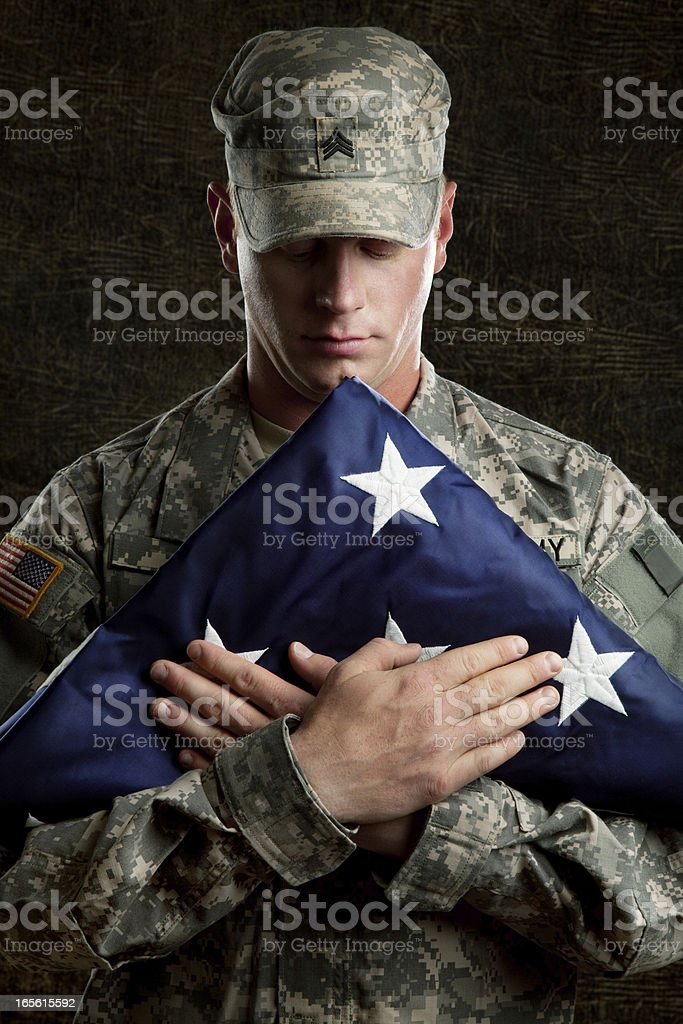 American Soldier Series: Young Sergeant against Dark Background royalty-free stock photo