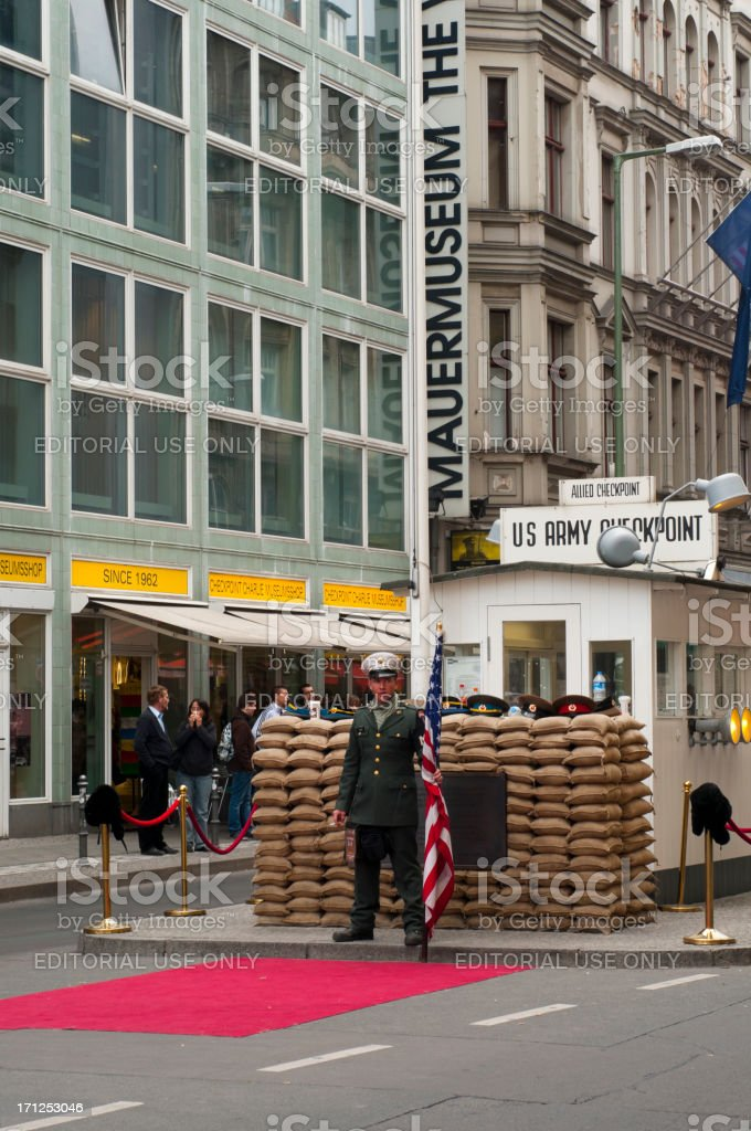 American soldier stand in front of the check point Charlie stock photo