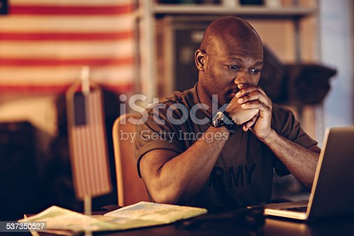 istock American soldier using laptop 537350527