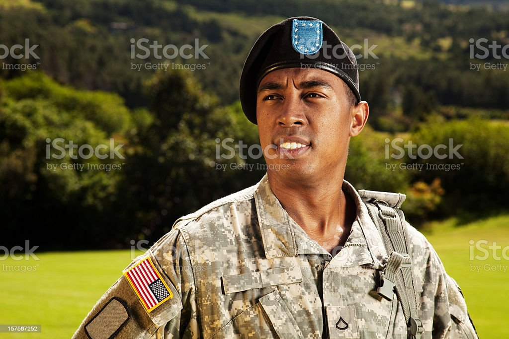 American Soldier With Beret royalty-free stock photo