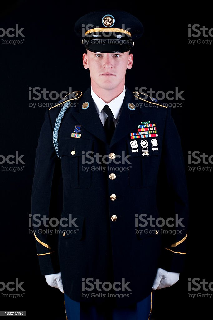 American Soldier with black background stock photo
