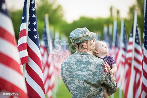 istock American soldier with daughter 493883277