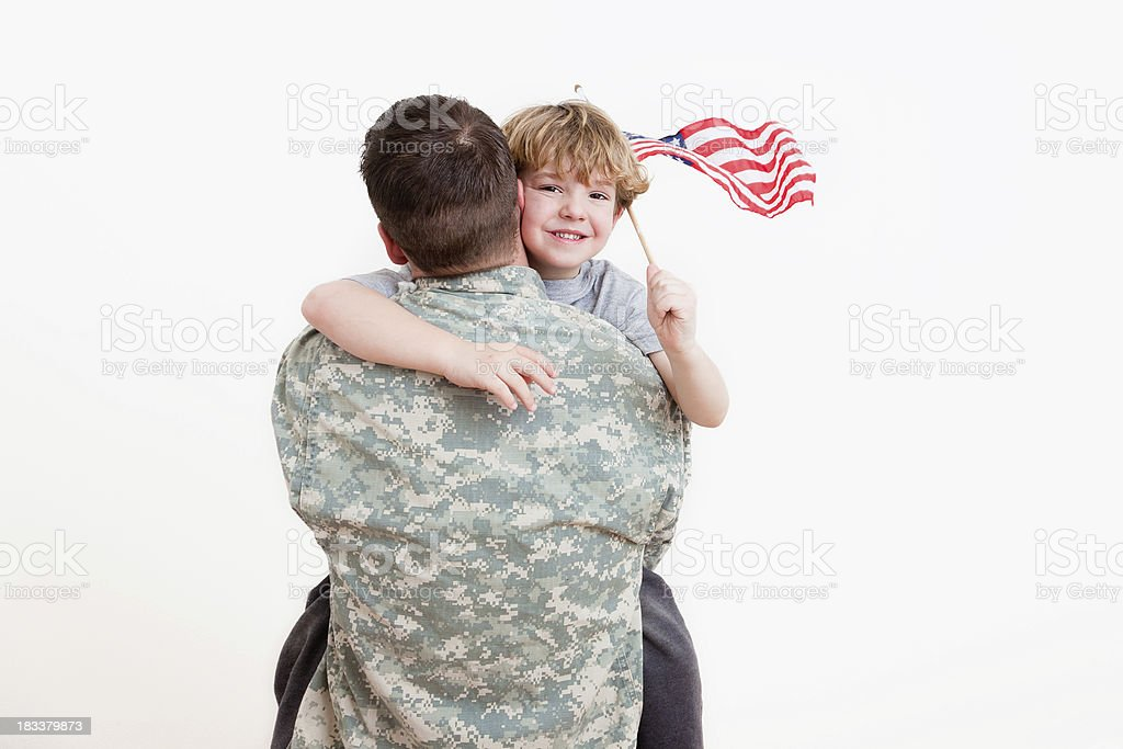American soldier with his son stock photo
