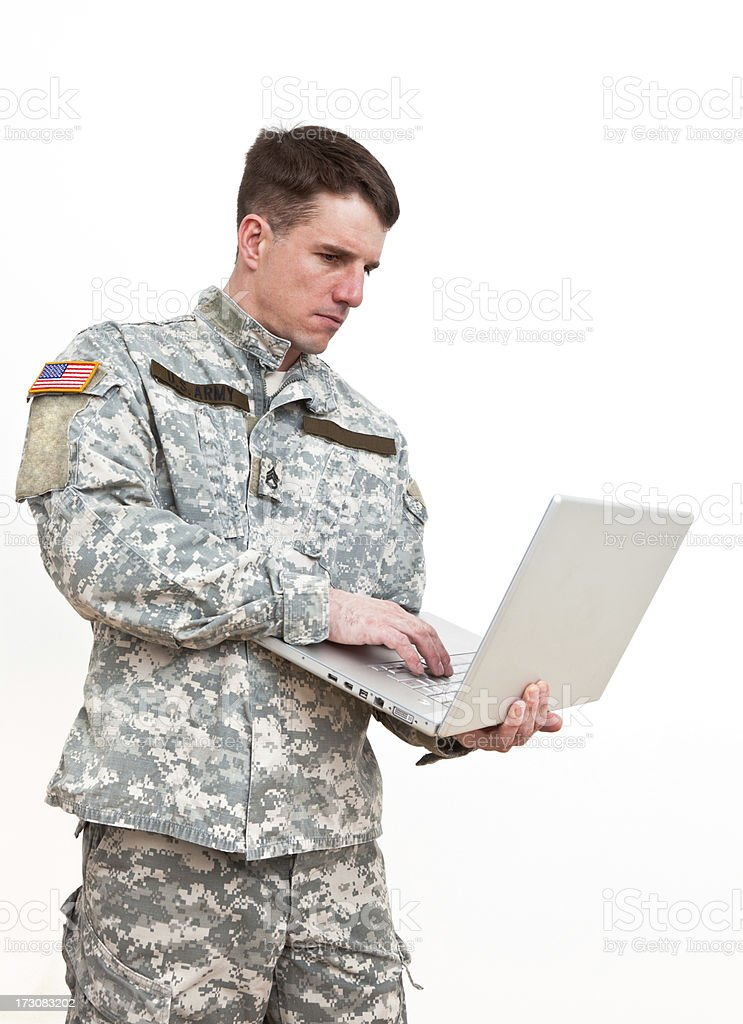 American soldier with laptop royalty-free stock photo