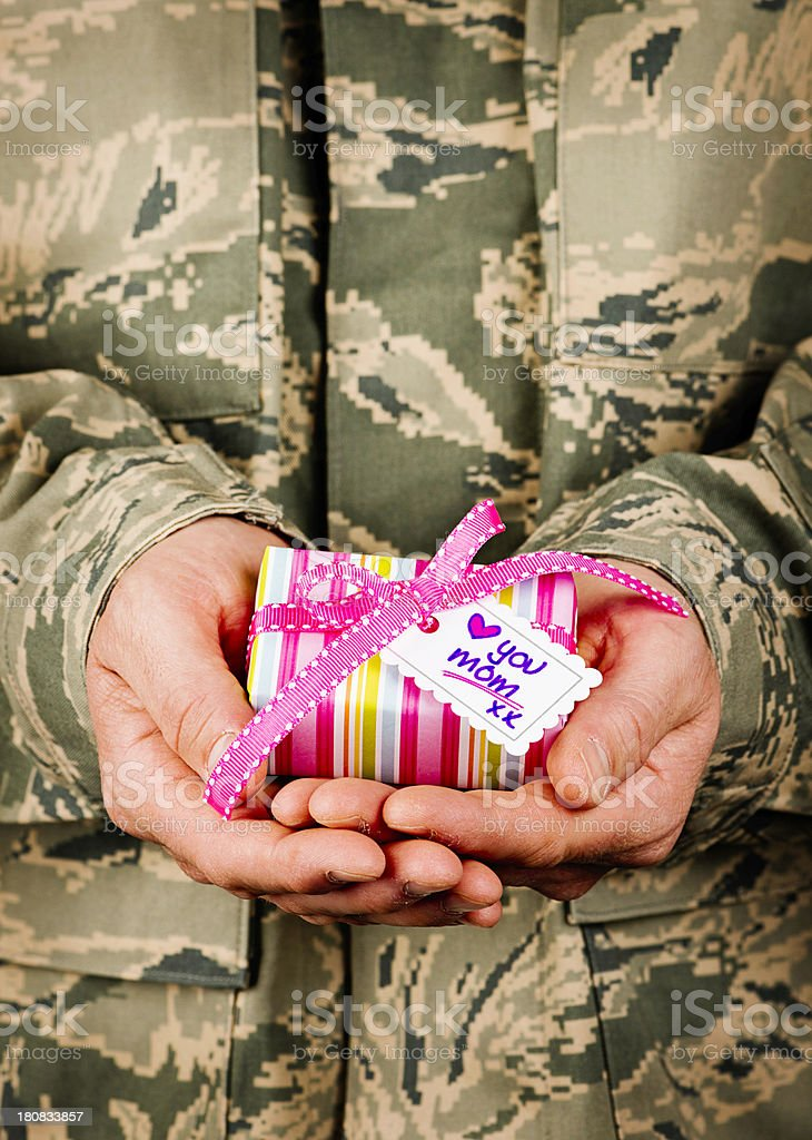 American Soldier with Mother's Day Gift stock photo