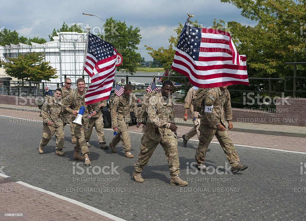 American soldiers marching the International Four Days Marches Nijmegen stock photo