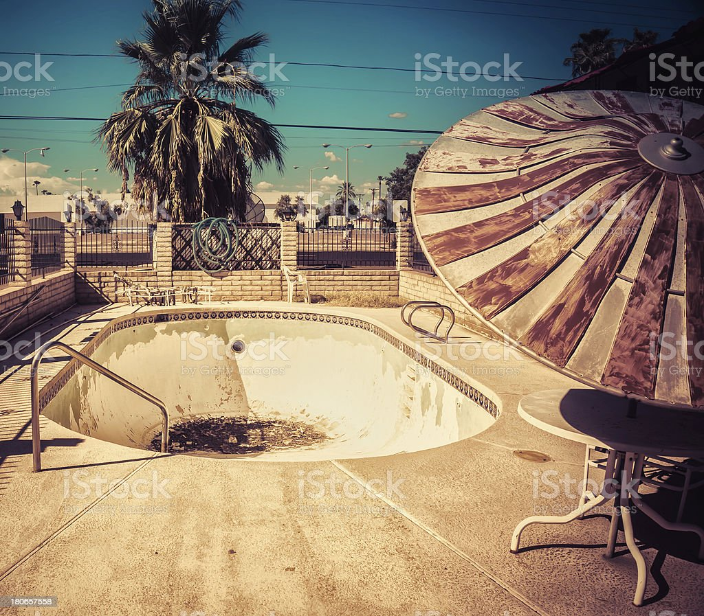 American South West Desert retro derelict motel pool stock photo