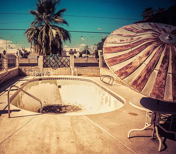 American South West Desert retro derelict motel pool stock photo