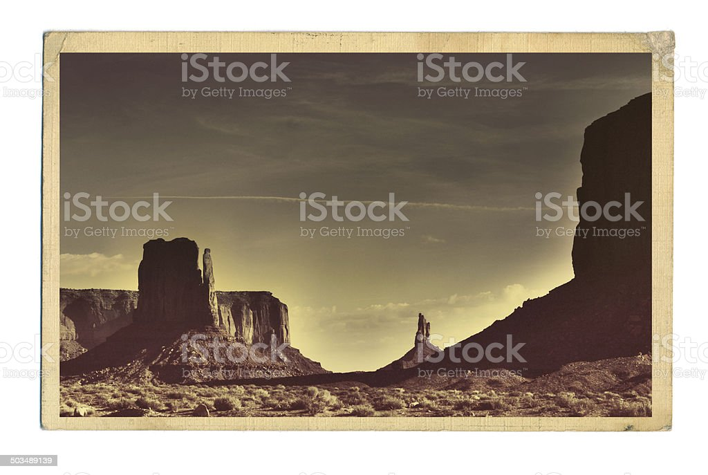 American Soutwest Landscape Retro Postcard of Monument Valley royalty-free stock photo