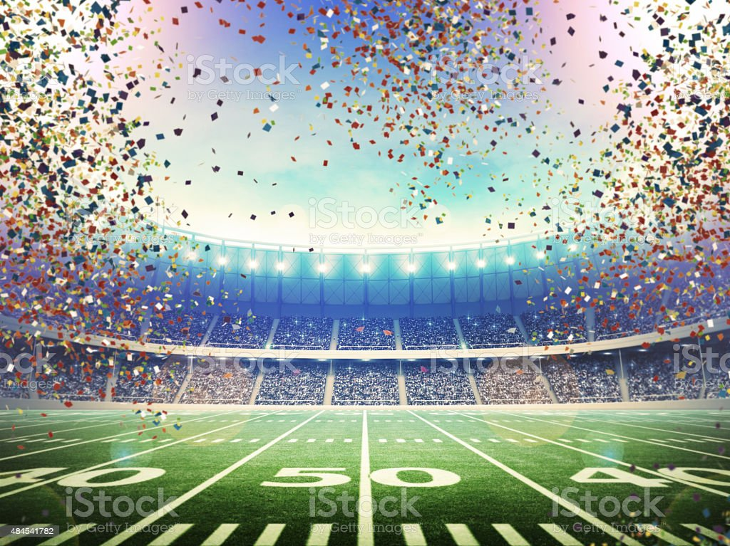 American stadium with confetti stock photo