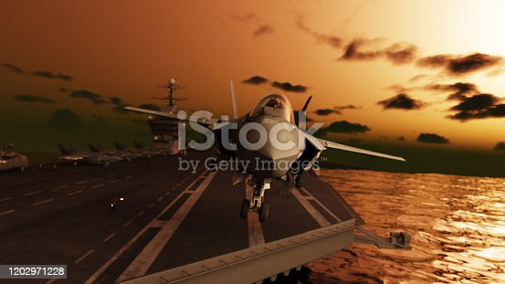 American stealth jet take-off from aircraft carrier at dawn 3d render