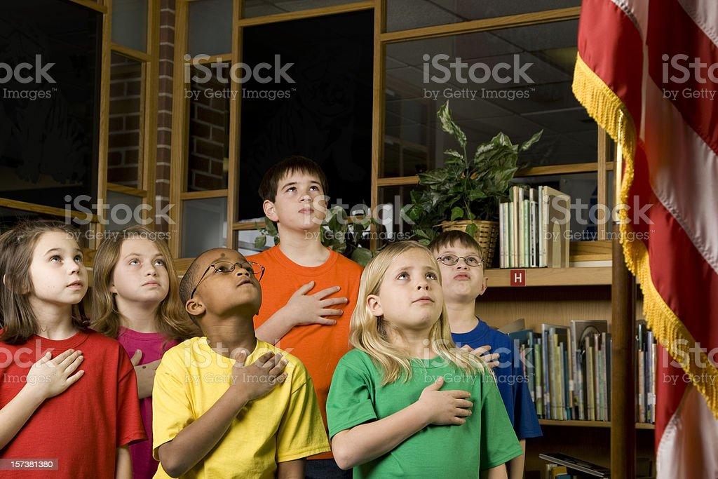 American Students Pledging Allegiance to the Flag stock photo