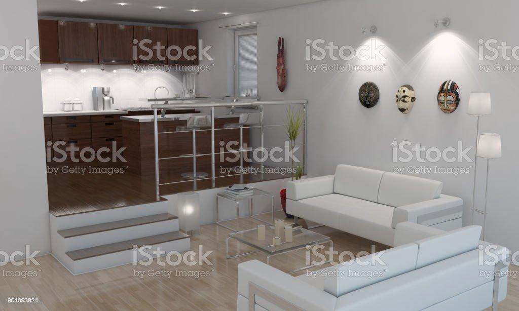 Amerikanischen Stil Minimalistisch Wohnzimmer Küche ...