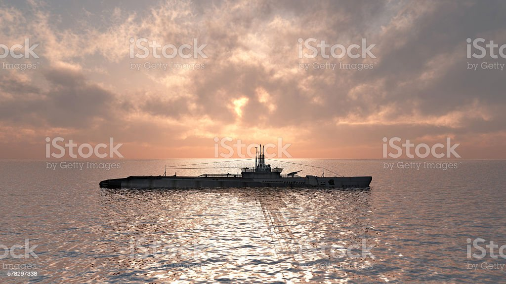 American submarine of World War II stock photo