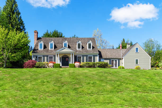 American Suburban Cottage Style Home Exterior stock photo