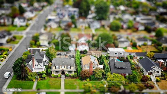 Aerial photo of an American suburban neighborhood with a tilt-shift effect