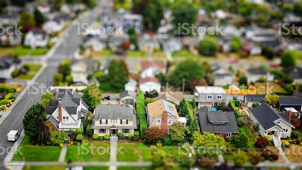 American Suburban Neighborhood Tilt-shift Aerial Photo stock photo