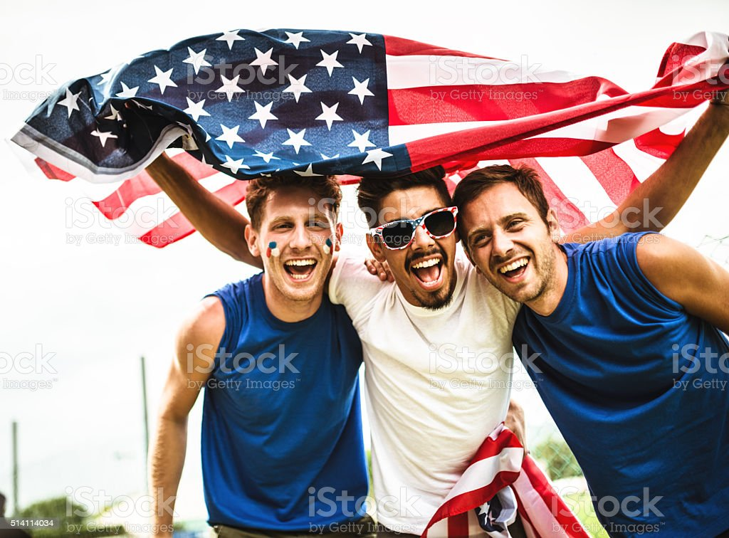 american supporter happiness for the national holiday stock photo
