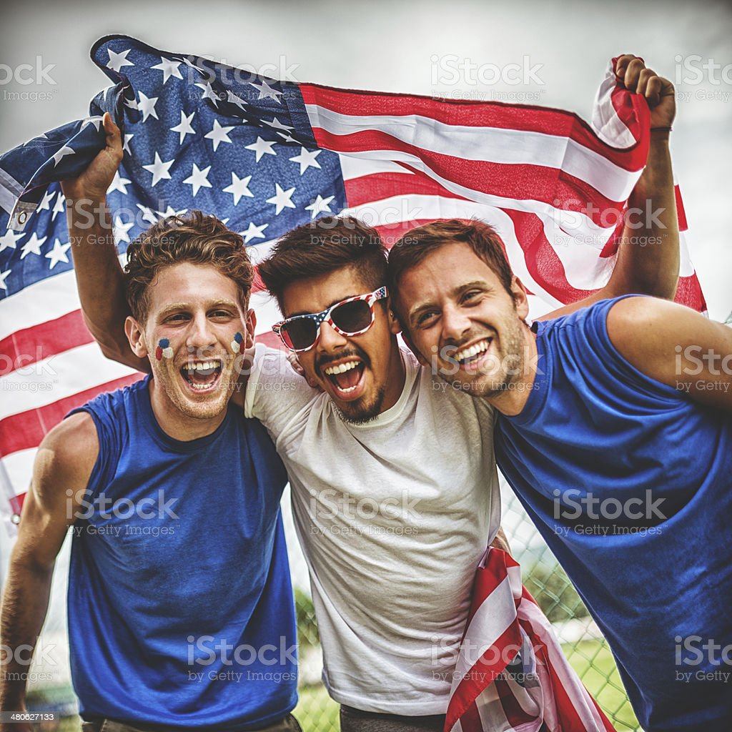american supporter with us flag stock photo