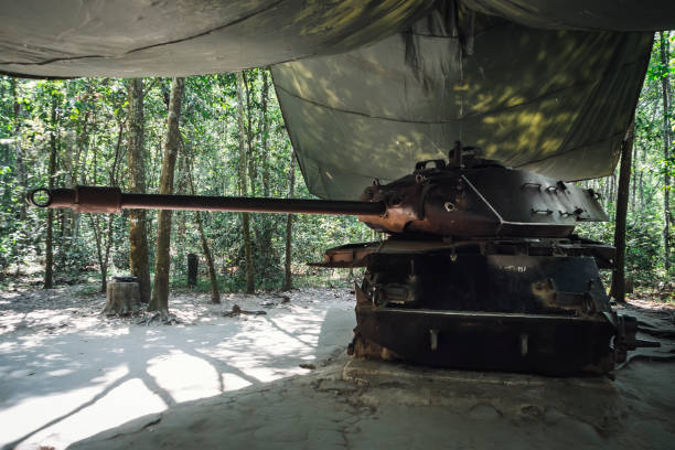 American Tank destroyed by Viet Congs in Cu Chi, Vietnam in 1970 American Tank destroyed by Viet Congs in Cu Chi, Vietnam in 1970.  Cu Chi suburban district of Ho Chi Minh city viet cong stock pictures, royalty-free photos & images