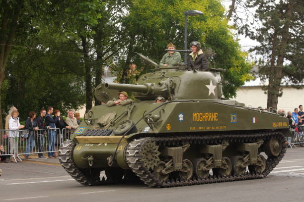 American tank of the Second World War parading for  commemorating the French Revolution American tank of the Second World War parading for the national day of 14 July commemorating the French Revolution. Saint-Quentin in Aisne, Picardie region of France aisne stock pictures, royalty-free photos & images