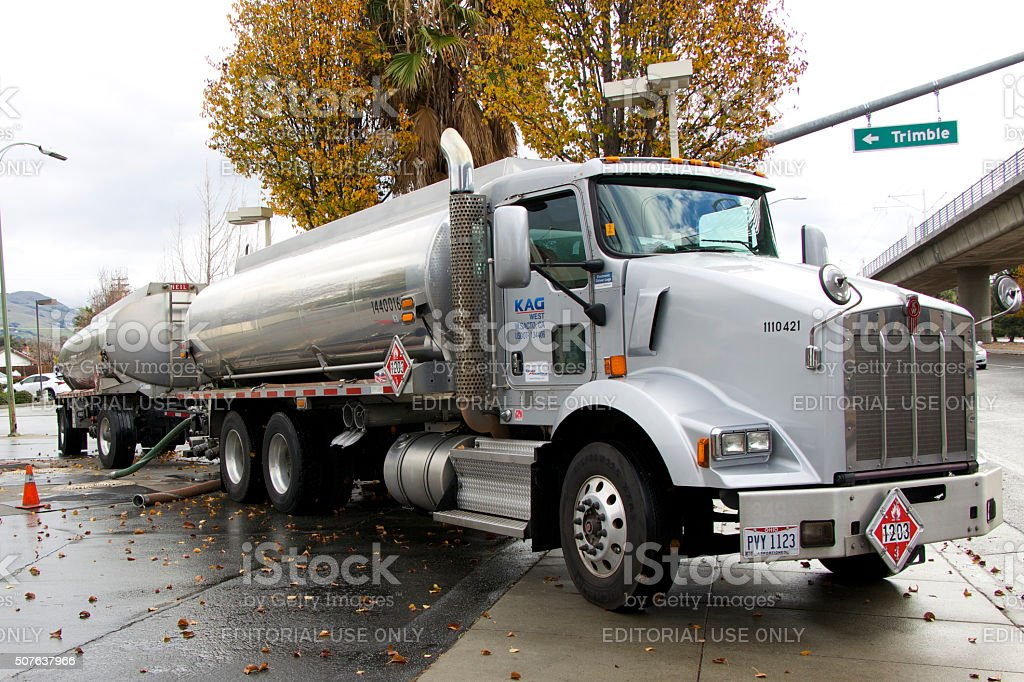 American tanker bringing fuel to the gas station stock photo