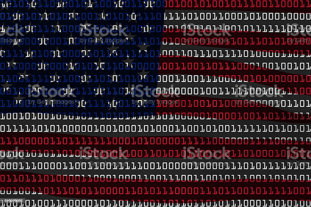 American Technology Concept - Flag of USA in Binary Code stock photo