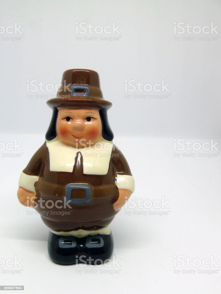 American Thanksgiving Pilgrim Man Isolated on White Background stock photo