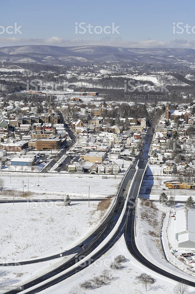 American Town Aerial in Snow Landscape stock photo