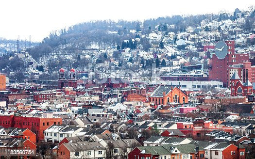 American town in winter time. Pittsburgh, Pennsylvania, USA