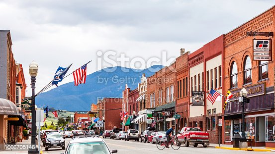 Red Lodge, Montana, USA - Traffic on colourful main street of Red Lodge town.