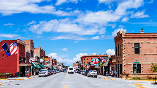 american town - red lodge, montana - town stock pictures, royalty-free photos & images