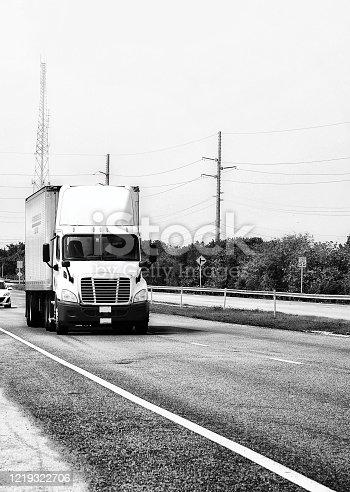 American Truck on Highway, Florida Keys.