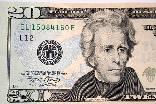 american twenty dollar, andrew jackson - number 20 stock photos and pictures