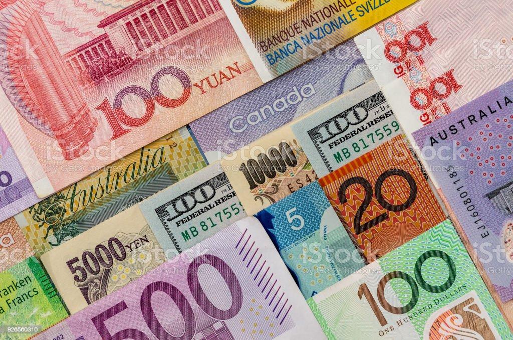 American  Us Canadian   Australian  Dollar, Euro, Japanese Yen, and Chinese Yuan banknote stock photo