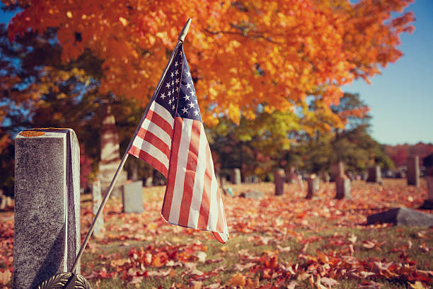 american veteran flag in autumn cemetery - veterans day 뉴스 사진 이미지